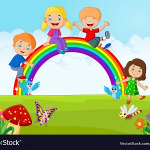Cartoon Happy Kids Sitting On Rainbow On The Fores Vector 5810407